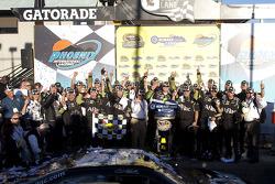 Victory lane: race winner Carl Edwards, Roush Fenway Racing celebrates