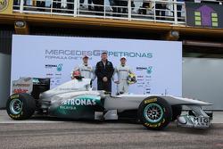 Michael Schumacher, Mercedes GP F1 Team with Ross Brawn Team Principal, Mercedes GP and Nico Rosberg, Mercedes GP F1 Team