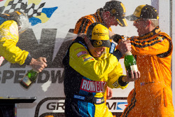 GS victory lane: champagne celebrations