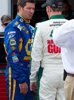 Dale Earnhardt Jr., Hendrick Motorsports Chevrolet and Martin Truex Jr., Michael Waltrip Racing Toyota after crashing