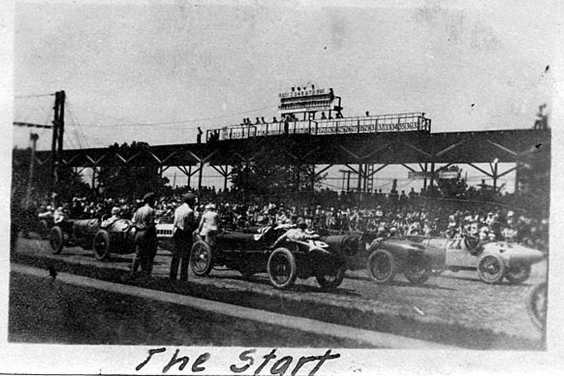 1921 Indy 500 The Start #16 Ora Haibe, #9 Albert Guyot, #21 Bennett Hill