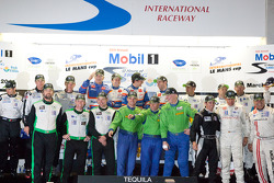 Class winners podium: P1 and overall winners Nicolas Lapierre, Loic Duval and Olivier Panis, P2 winners Scott Tucker, Ryan Hunter-Reay and Luis Diaz, GTC winners Tim Pappas, Damien Faulkner and Sebastiaan Bleekemolen, GTE-AM winners Tracy Krohn, Nic Jonss