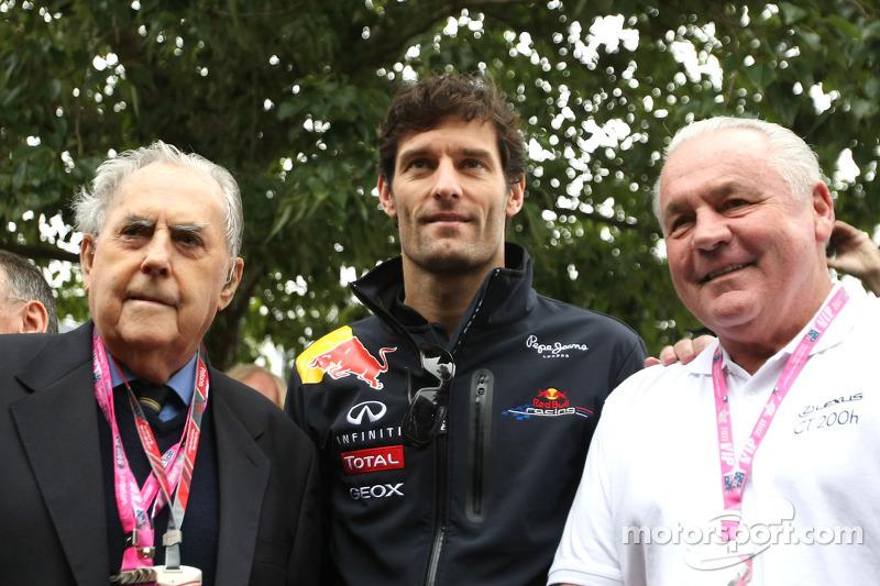 Sir Jack Brabham, Mark Webber et Alan Jones lors du GP d'Australie 2011