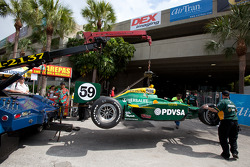 Damaged car of E.J. Viso, KV Racing Technology-Lotus