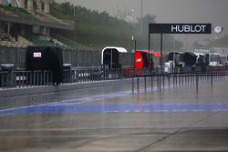 Heavy rain hits the track