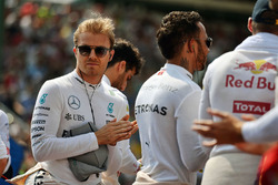 Nico Rosberg, Mercedes AMG F1 as the grid observes the national anthem