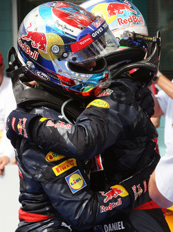Max Verstappen, Red Bull Racing celebrates his third position with second placed team mate Daniel Ricciardo, Red Bull Racing in parc ferme