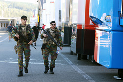 Armed forces guard the pits and paddock