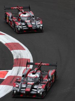#7 Audi Sport Team Joest Audi R18: Marcel Fässler, Andre Lotterer; #8 Audi Sport Team Joest Audi R18 e-tron quattro: Lucas di Grassi, Loic Duval, Oliver Jarvis