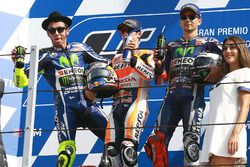 Podium: race winner Dani Pedrosa, Repsol Honda Team, second place Valentino Rossi, Yamaha Factory Racing, third place Jorge Lorenzo, Yamaha Factory Racing