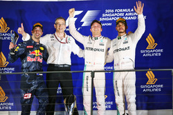 Podium (L to R): second place Daniel Ricciardo, Red Bull Racing; Race winner Nico Rosberg, Mercedes AMG F1; third place Lewis Hamilton, Mercedes AMG F1
