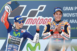 Podium: race winner Marc Marquez, Repsol Honda Team, second place Jorge Lorenzo, Yamaha Factory Racing