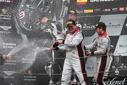 Podium: race winners #33 Belgian Audi Club Team WRT Audi R8 LMS: Enzo Ide, Robin Frijns, second place #63 GRT Grasser Racing Team Lamborghini Huracan GT3: Nicolas Pohler, Mirko Bortolotti, third place #88 AKKA ASP Mercedes AMG GT3: Tristan Vautier, Felix Rosenqvist