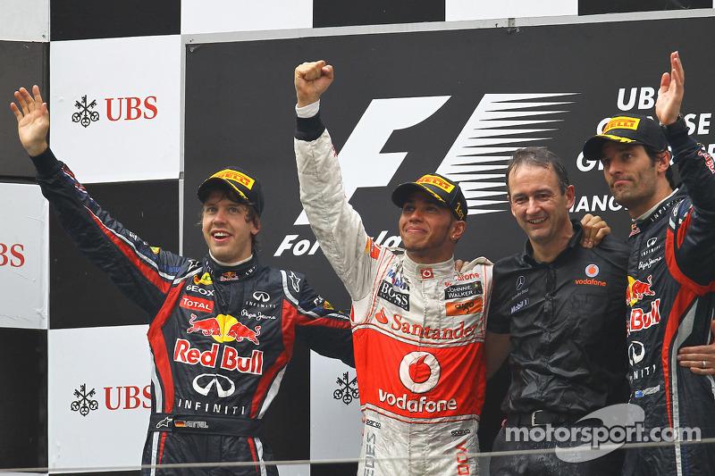 2011 : 1. Lewis Hamilton, 2. Sebastian Vettel, 3. Mark Webber