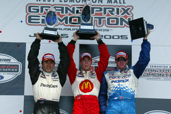 Podium: race winner Sébastien Bourdais with Oriol Servia and Paul Tracy