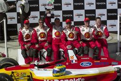 Race winner Sébastien Bourdais celebrates with his crew