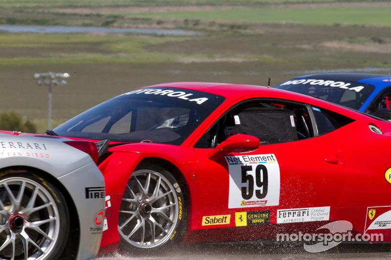 Start: #9 Ferrari of Beverly Hills Ferrari 458 Challenge: Jay Lee and #59 Algar Ferrari Ferrari 458 Challenge: John Farano collide