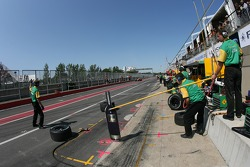 Australia Racing crew members wait for Alex Tagliani