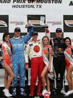 Podium: race winner Sébastien Bourdais with Graham Rahal and Robert Doornbos