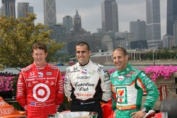 IndyCar Series 2007 Championship contenders Scott Dixon, Dario Franchitti and Tony Kanaan pose during a photo shoot on Navy Pier in Chicago