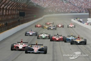 Danica Patrick leads the 2005 Indy 500