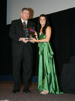 Danica Patrick accepts Rookie of the Year award