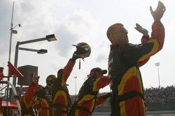Delphi Fernandez crew members celebrate victory