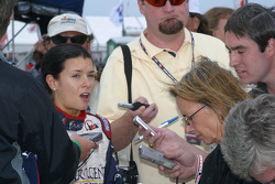 Danica Patrick talks with the media