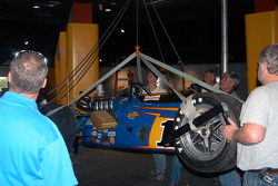 Al Unser, Sr. watches as Johnny Lightning Special gradually rises via winch
