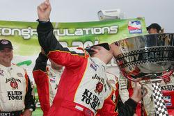 2005 IRL champion Dan Wheldon celebrates