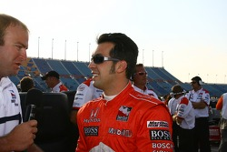 Pole winner Sam Hornish Jr. celebrates