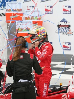 Victory lane: race winner Dan Wheldon