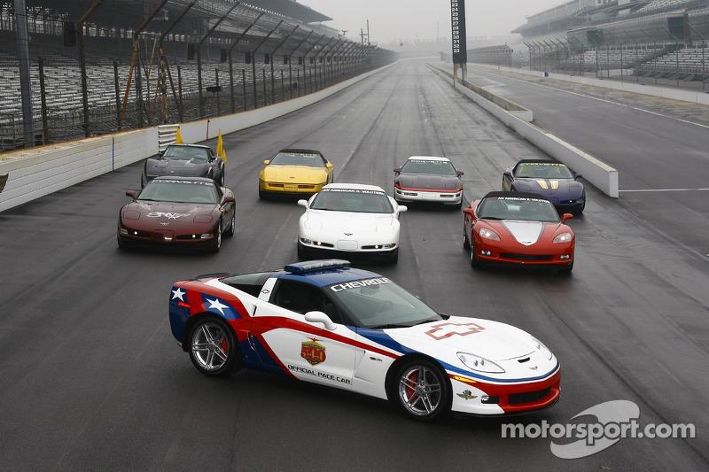 The 2006 Chevrolet Corvette Z06 Pace Car leads a pack of past Indianapolis 500 Corvette Pace Cars