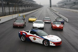 The 2006 Chevrolet Corvette Z06 Pace Car leads a pack of past Indianapolis 500 Corvette Pace Cars