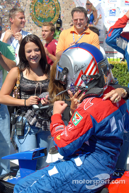 Marissa and Sandy Andretti greet Marco in Victory lane at Montréal