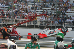 The car of Helio Castroneves after the rear wing failed