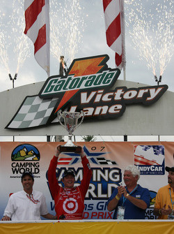Winners circle: Scott Dixon celebrates
