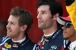 Pole winner Mark Webber, Red Bull Racing, second place Sebastian Vettel, Red Bull Racing, third place Lewis Hamilton, McLaren Mercedes