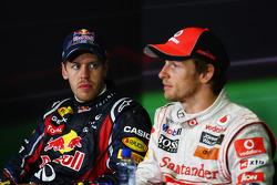 Sebastian Vettel, Red Bull Racing with Jenson Button, McLaren Mercedes