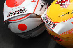 Jenson Button, McLaren Mercedes and Lewis Hamilton, McLaren Mercedes with Steinmetz Diamonds on their helmets