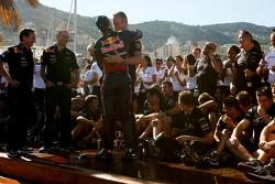 Adrian Newey, Red Bull Racing, Technical Operations Director Christian Horner, Red Bull Racing, Sporting Director and Sebastian Vettel, Red Bull Racing