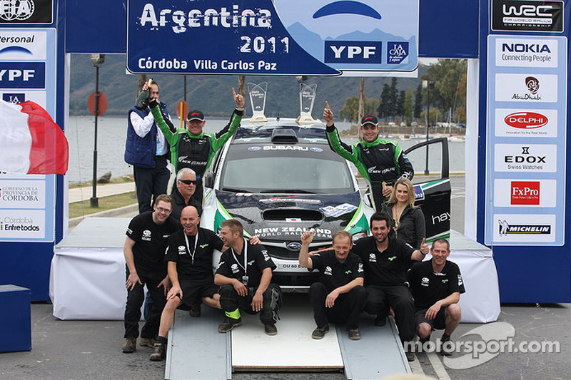 PWRC podium: Hayden Paddon and Johnathan Kennard, Subaru Impreza