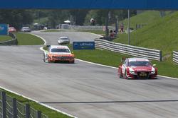 Oliver Jarvis, Audi Sport Team Abt Audi A4 DTM leads Ralf Schumacher, Team HWA AMG Mercedes C-Klasse