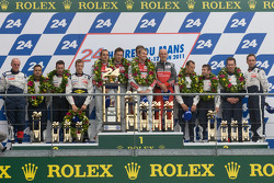 LM P1 podium: class and overall winners Marcel Fässler, André Lotterer and Benoit Tréluyer, second place Sébastien Bourdais, Simon Pagenaud and Pedro Lamy, third place Franck Montagny, Stéphane Sarrazin and Nicolas Minassian