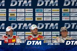 Press conference: race winner Martin Tomczyk, Audi Sport Team Phoenix, second place Timo Scheider, Audi Sport Team Abt, third place Bruno Spengler, Team HWA AMG Mercedes
