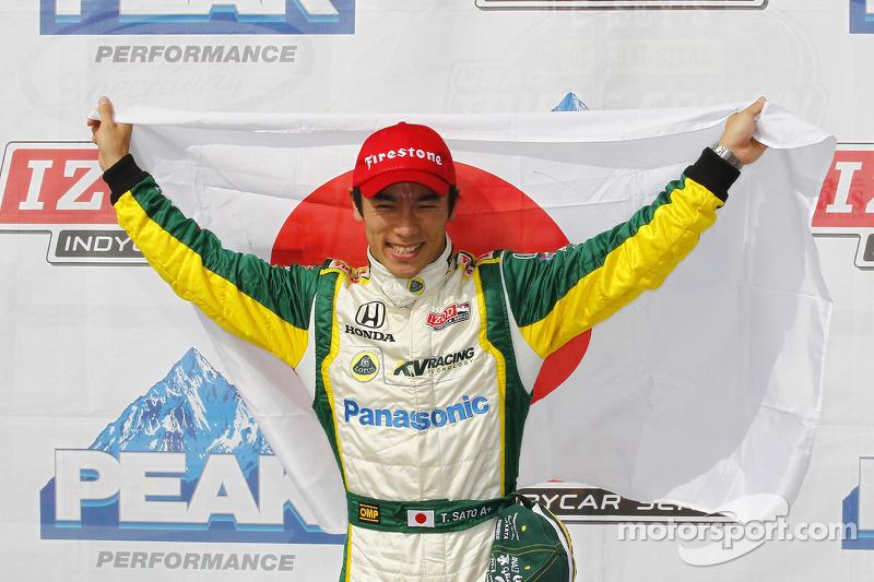 Pole winner Takuma Sato, KV Racing Technology-Lotus