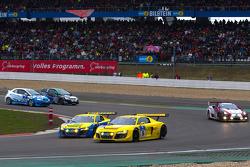 #14 Audi Sport Team Phoenix Audi R8LMS: Marc Basseng, Marcel Fässler, Frank Stippler, #16 Audi Sport Team Abt Sportsline Audi R8LMS: Mattias Ekström, Timo Scheider, Marco Werner, Christian Abt