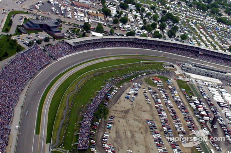 Aerial view of Indianapolis Motor Speeway: turn 1