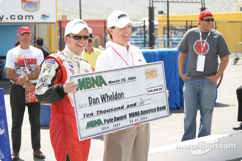 Dan Wheldon receives MBNA Pole Award check