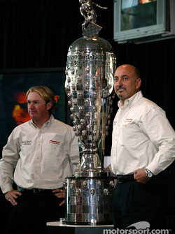 Buddy Rice and Bobby Rahal with the Borg Warner trophy